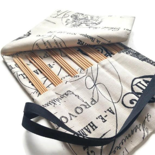 Double Point Needle Roll Up 12 Pockets Black French Icon Fabric