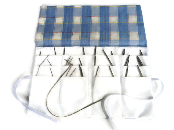 Circular Needle Case Blue/White Plaid