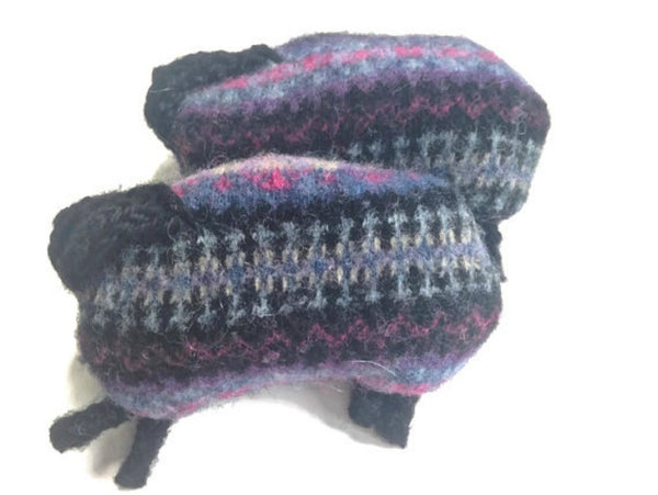 Felted Sheep Hand Warmers Violet and Black Fair Isle