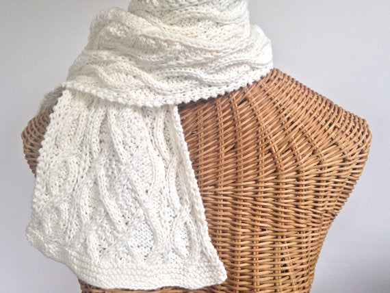 Cabled Scarf  Cotton Wool Blend Creamy White