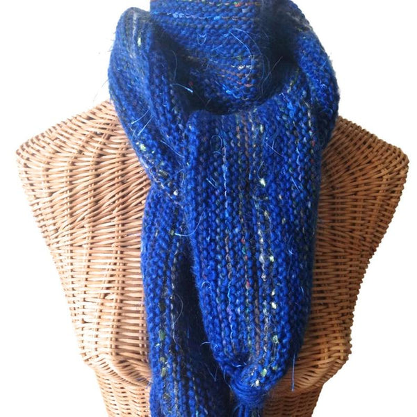 Hand Knit Scarf Bright Blue FUSION