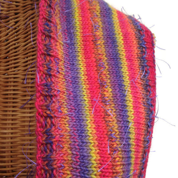 Infinity Striped Scarf Wool Pink Lavender Yellow - Buttermilk Cottage - 2