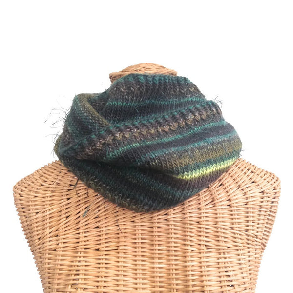 Infinity Striped Scarf Wool Olive Brown Teal Lime - Buttermilk Cottage - 2