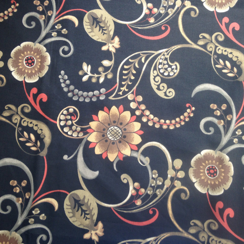 Fabric Black Floral Screen Print Mill Creek Fabrics - Buttermilk Cottage - 1