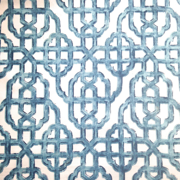 Fabric Blue White Fretwork Screen Print Woven - Buttermilk Cottage - 2