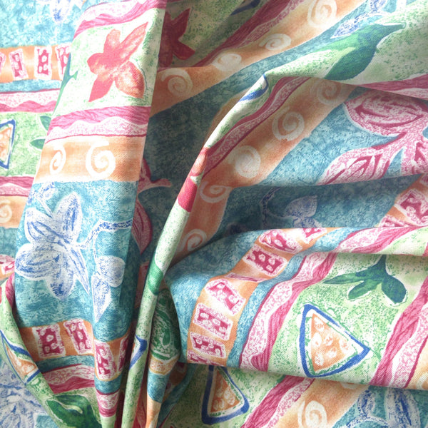 Fabric Abstract Floral Fuchsia Turquoise - Buttermilk Cottage - 4