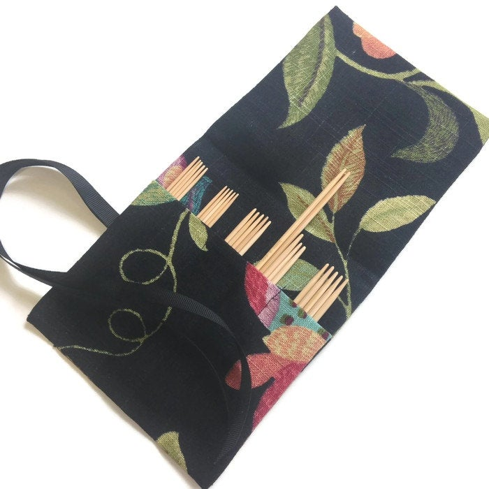 Sock Knitter's Needle Set Black Floral Fabric