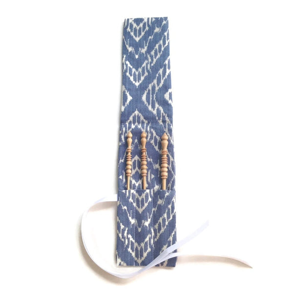 Crochet Hooks for Knitters Blue Woven Ikat - Buttermilk Cottage - 3
