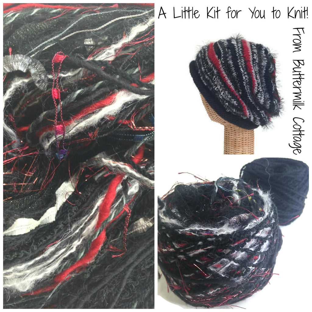 Black FUSION Slouchy Hat Kit - Buttermilk Cottage - 1