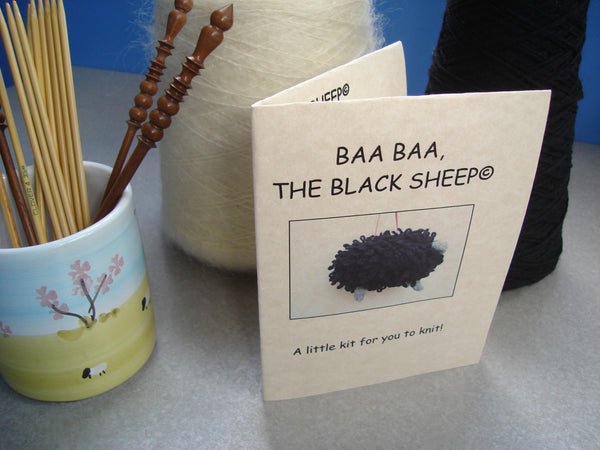 "Sheep Ornament Knitting Kit ""Baa Baa, the Black Sheep"" - Buttermilk Cottage - 4"