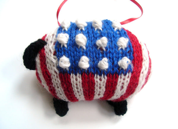 Sheep Ornament Knitting Kit Patriotic Lamb Ornament Kit - Buttermilk Cottage - 2