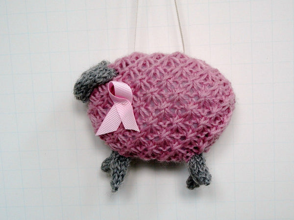 "Hand Knit Sheep Ornament ""Pinky"" - Buttermilk Cottage - 3"