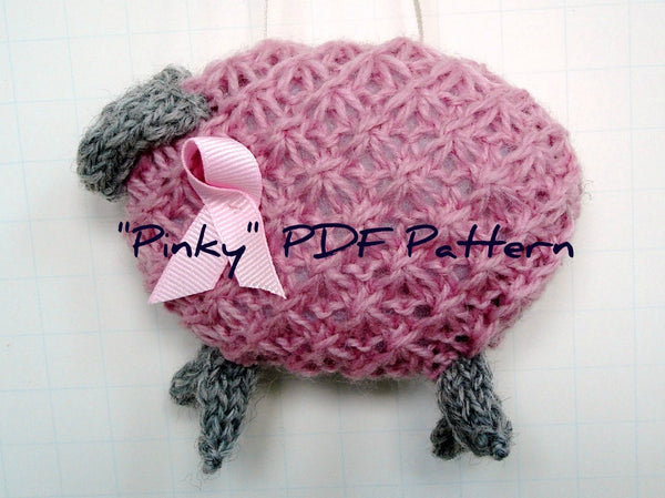 "Hand Knit Sheep Ornament ""Pinky"" - Buttermilk Cottage - 5"