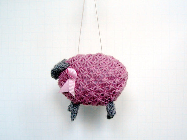 "Sheep Ornament Knitting Kit ""Pinky, Pretty Pink Ewe"" - Buttermilk Cottage - 4"