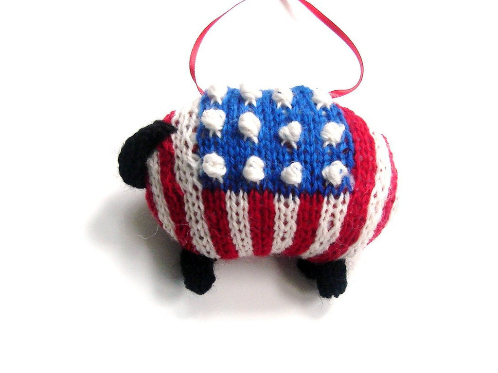 "Hand Knit Sheep Ornament ""Sam, the American Lamb"" - Buttermilk Cottage - 1"