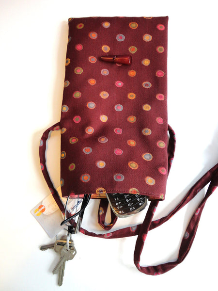 Tag Along Bag Burgundy Circle Motif - Buttermilk Cottage - 2