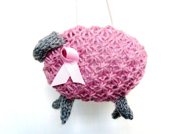 "Hand Knit Sheep Ornament ""Pinky"" - Buttermilk Cottage - 1"