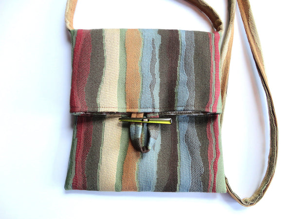 Tag Along Bag Blue Brown Stripe - Buttermilk Cottage - 3