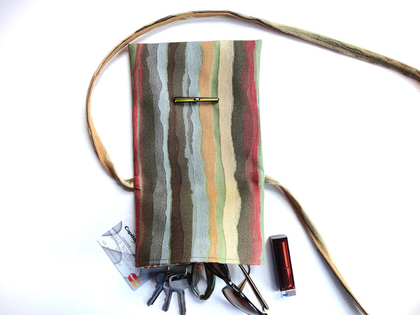Tag Along Bag Blue Brown Stripe - Buttermilk Cottage