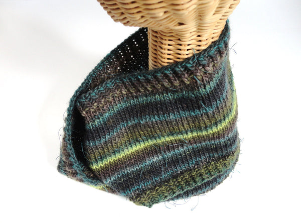 Infinity Striped Scarf Wool Olive Brown Teal Lime - Buttermilk Cottage - 4
