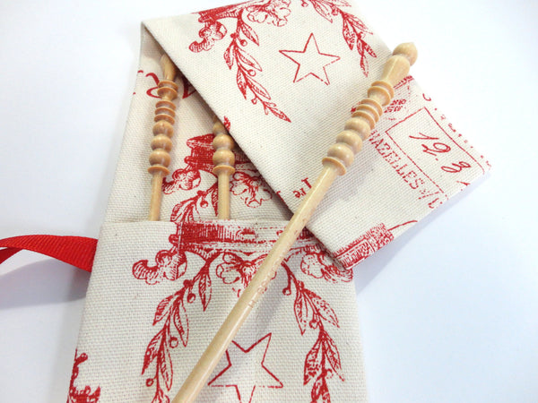 Crochet Hooks for Knitters Red Toile - Buttermilk Cottage - 2