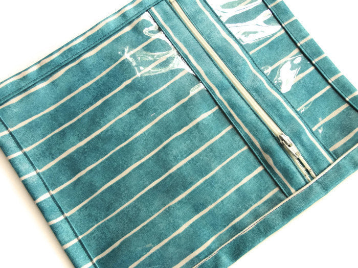 Accessory Bag Green Teal Stripe - Buttermilk Cottage