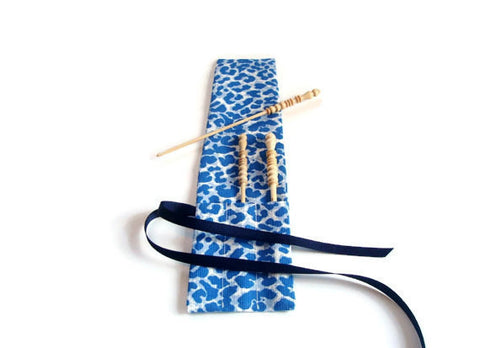 Crochet Hooks for Knitters Blue Faux Animal Print - Buttermilk Cottage - 1