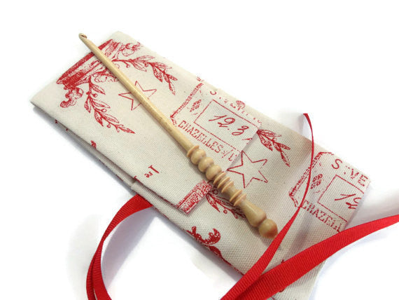 Crochet Hooks for Knitters Red Toile - Buttermilk Cottage - 1