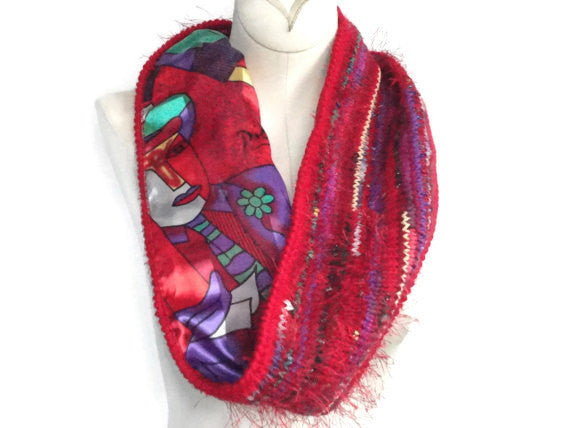 Reversible Cowl Abstract Print Red - Buttermilk Cottage - 5