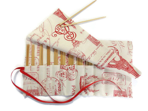 Double Point Needle Roll Up 12 Pockets Red French Icon Fabric - Buttermilk Cottage - 1