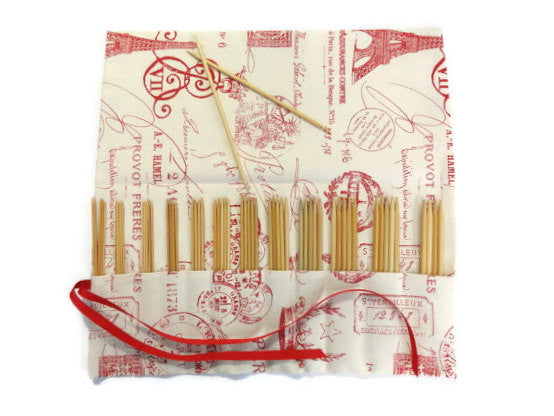 Double Point Needle Roll Up 12 Pockets Red French Icon Fabric - Buttermilk Cottage - 2