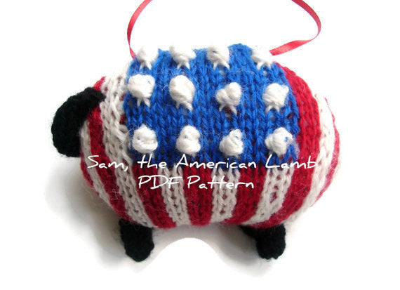 "Hand Knit Sheep Ornament ""Sam, the American Lamb"" - Buttermilk Cottage - 2"