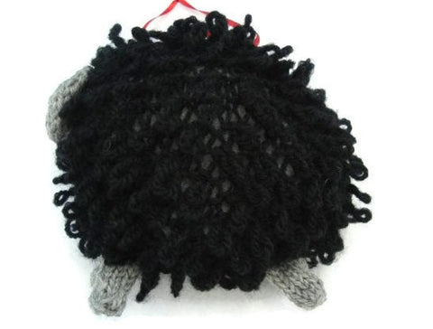 "Hand Knit Sheep Ornament ""Baa Baa, the Black Sheep"" - Buttermilk Cottage - 1"