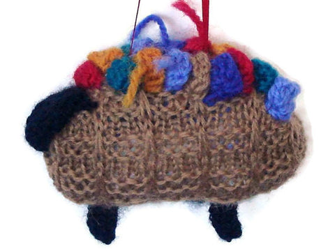 "Hand Knitted Sheep Ornament ""The Original Knitting Basket"" - Buttermilk Cottage - 1"