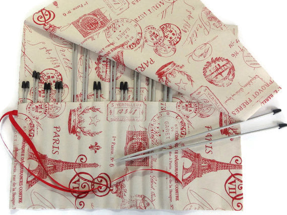 15 Pocket Straight Needle Roll Up Case Red French Icon - Buttermilk Cottage - 2