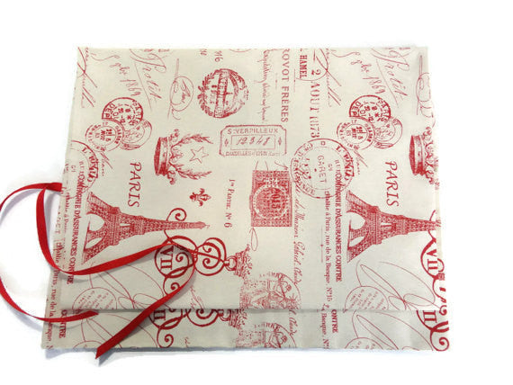 15 Pocket Straight Needle Roll Up Case Red French Icon - Buttermilk Cottage - 3
