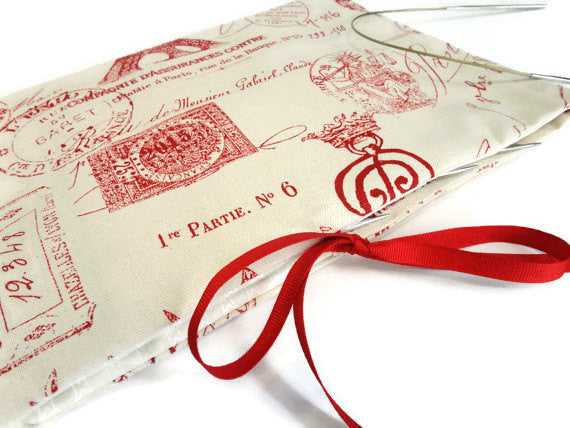 Circular Needle Case Red French Fabric - Buttermilk Cottage - 1