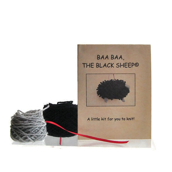 "Sheep Ornament Knitting Kit ""Baa Baa, the Black Sheep"" - Buttermilk Cottage - 1"