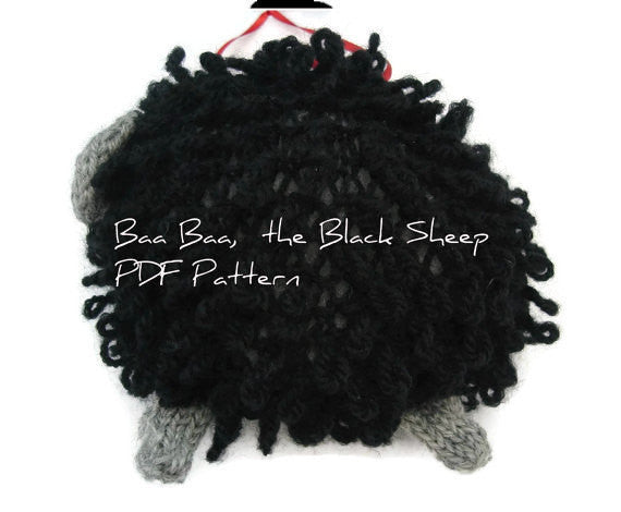 "Sheep Ornament Knitting Kit ""Baa Baa, the Black Sheep"" - Buttermilk Cottage - 3"