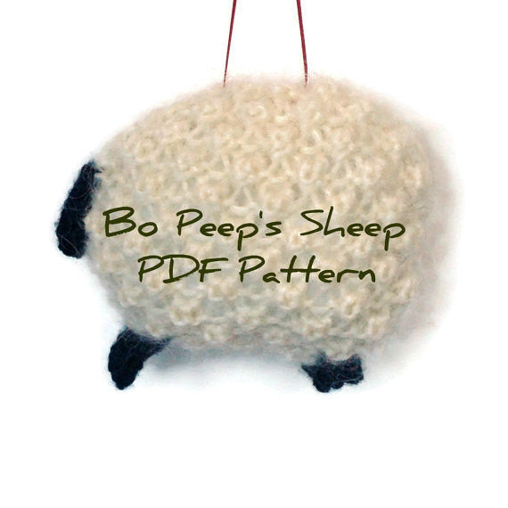 "Hand Knit Sheep Ornament ""Bo Peep's Sheep"" - Buttermilk Cottage - 5"