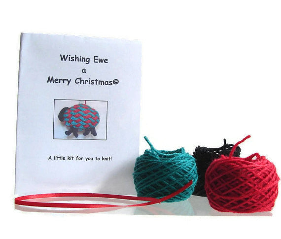 "Hand Knit Sheep Ornament ""Wishing Ewe a Merry Christmas"" - Buttermilk Cottage - 4"
