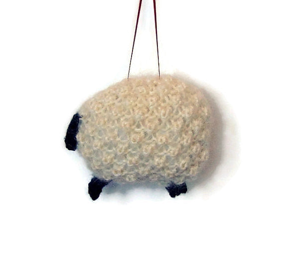 Sheep Ornament Knitting Kit Lamb Ornament Knit Kit Wool - Buttermilk Cottage - 2