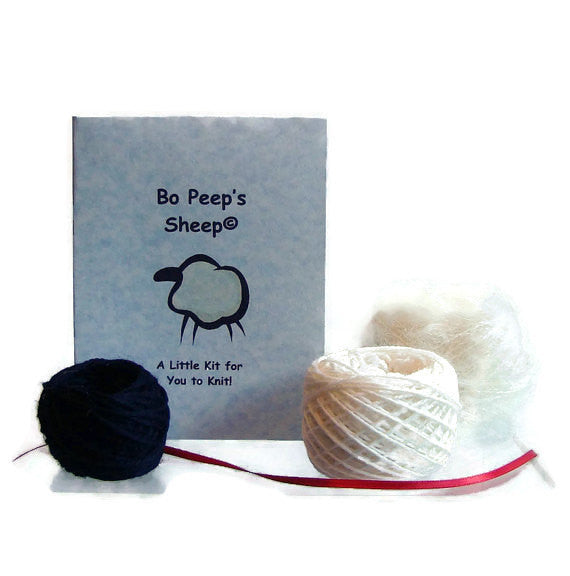 Sheep Ornament Knitting Kit Lamb Ornament Knit Kit Wool - Buttermilk Cottage - 1