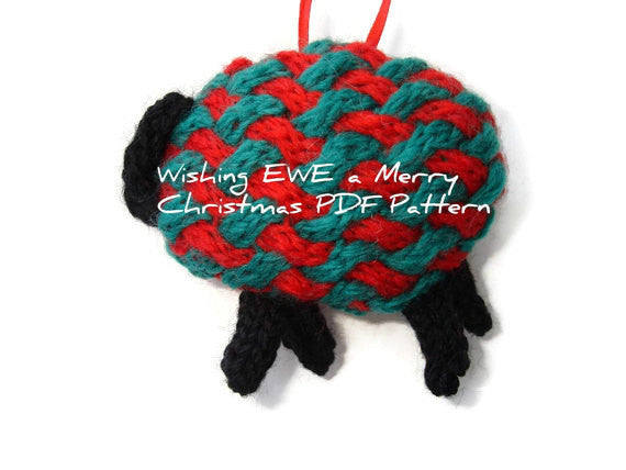 "Hand Knit Sheep Ornament ""Wishing Ewe a Merry Christmas"" - Buttermilk Cottage - 3"