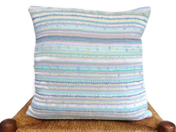 Sweater Pillow Single Pastel Knit - Buttermilk Cottage - 5