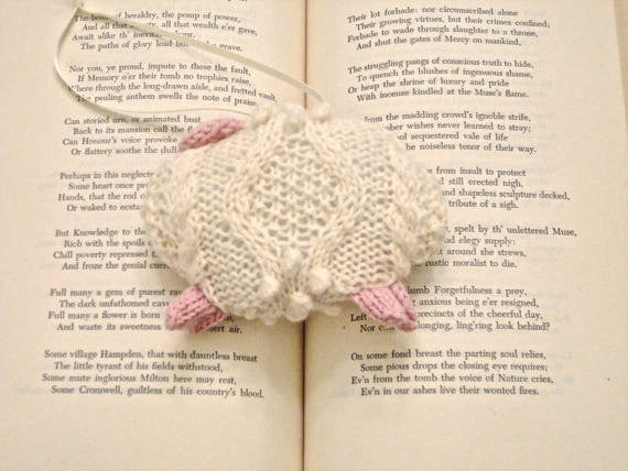 "Hand Knit Sheep Ornament ""Mary's Little Lamb"" - Buttermilk Cottage - 3"