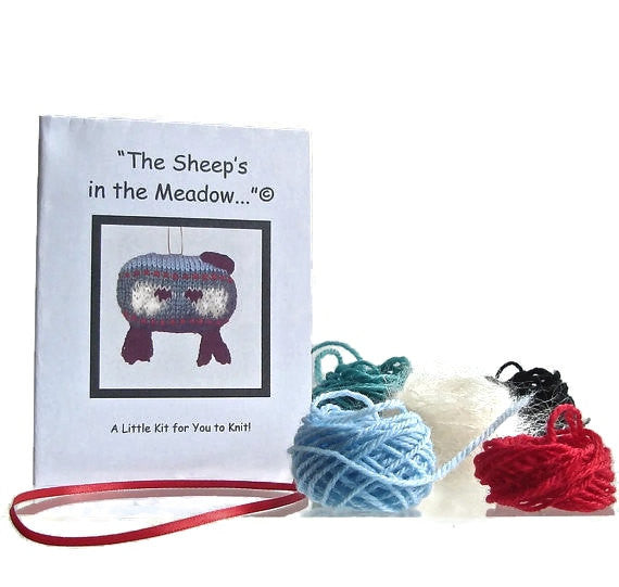"Sheep Ornament Knitting Kit ""The Sheep in the Meadow"" - Buttermilk Cottage - 1"