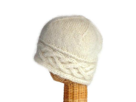 Cloche Celtic Cable White Mohair - Buttermilk Cottage - 3