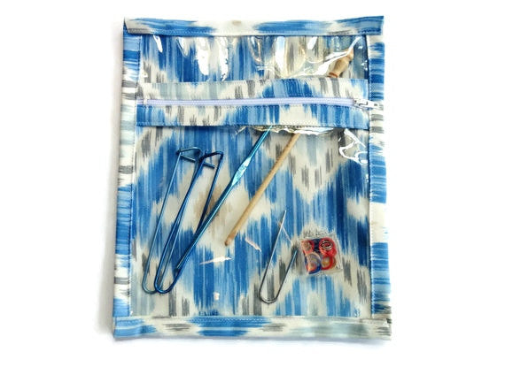 Accessory Bag in Blue Ikat - Buttermilk Cottage