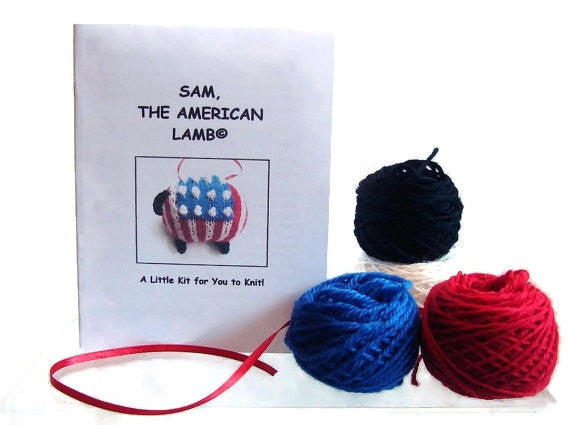 Sheep Ornament Knitting Kit Patriotic Lamb Ornament Kit - Buttermilk Cottage - 1